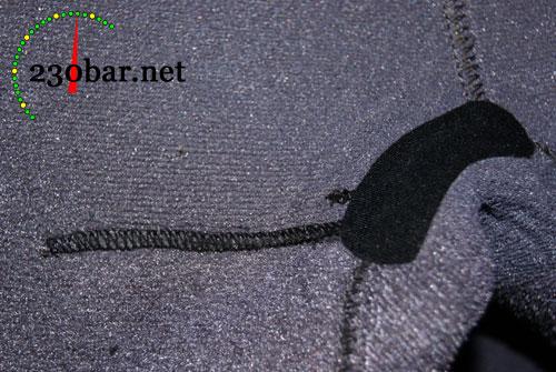 Riss 1 auf der Innenseite des Tauchanzugs nach der Reparatur